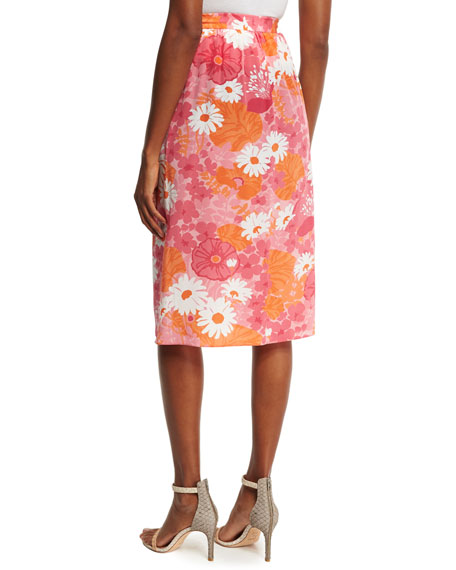 Daisy-Print Wrap Skirt, Pink/Multi