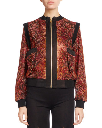 Beaded Python-Print Zip Bomber, Red/Black