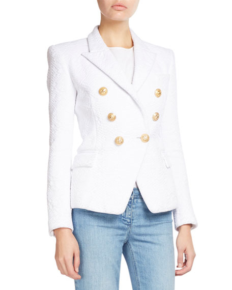 Balmain Classic Double-Breasted Jacquard Blazer, White