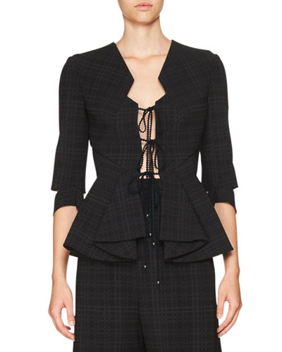 Plaid Ruffled Tie-Front Jacket, Black