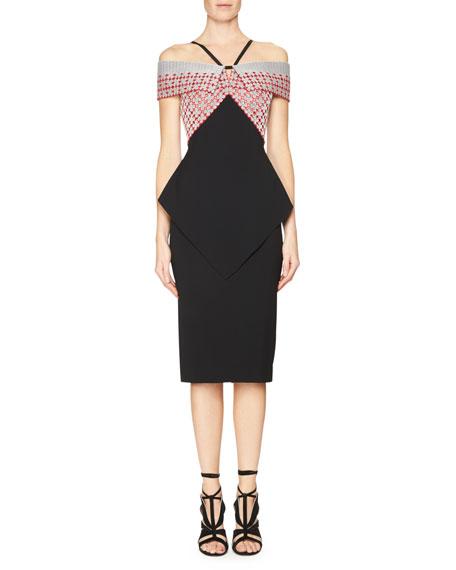Roland Mouret Off-the-Shoulder Embroidered Peplum Dress, Red/Black