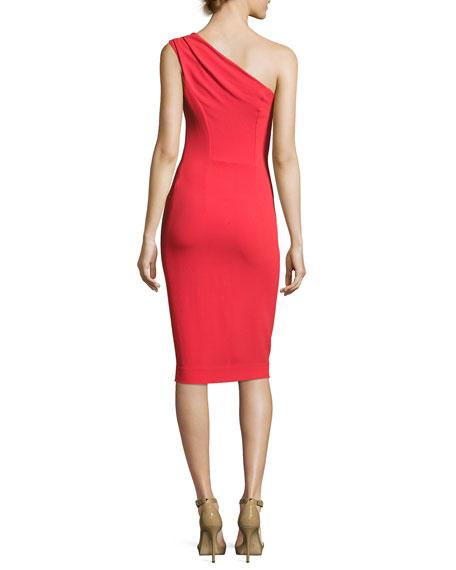 Mila One-Shoulder Sheath Dress, Red