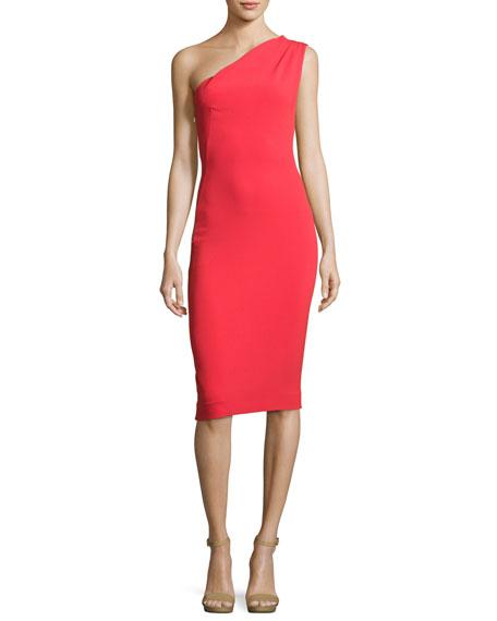 Haney Mila One-Shoulder Sheath Dress, Red
