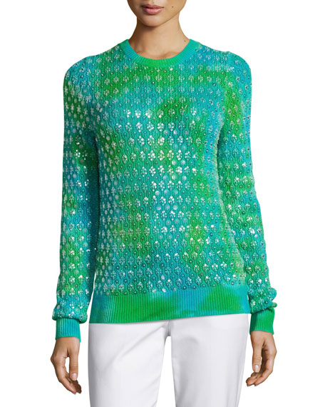 Michael Kors Collection Tie-Dye Paillette Crewneck Sweater,