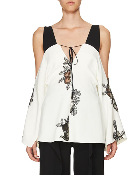 Lace-Inset Cold-Shoulder Top, White/Black