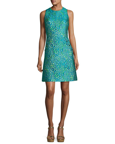 Floral Dome-Button Shift Dress, Teal