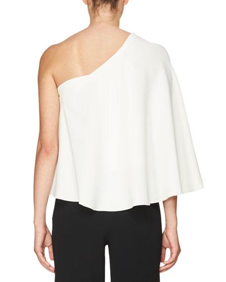 Flutter One-Shoulder Top, White
