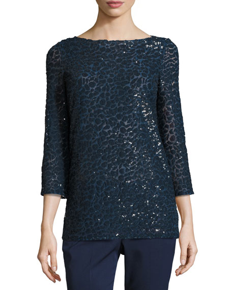 Michael Kors Collection Sequined Boat-Neck Tunic, Navy
