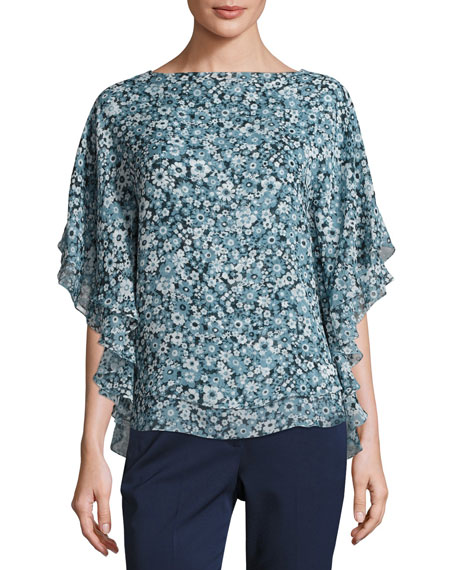 Floral Layered Half-Sleeve Tunic, Blue/Multi