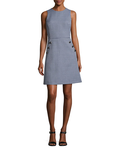 Michael Kors Collection Gingham Dome-Button Shift Dress,