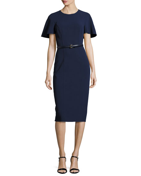Michael Kors Collection Capelet Belted Sheath Dress, Navy