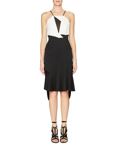 Roland Mouret Lace-Inset Sleeveless Flounce Dress, Black/White
