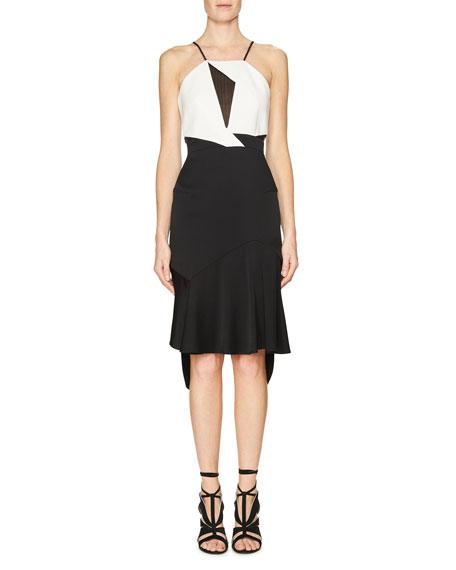 Lace-Inset Sleeveless Flounce Dress, Black/White