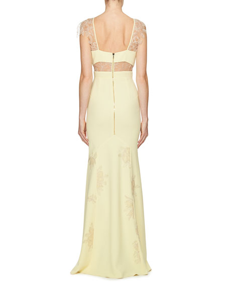 Lace-Appliqué Cap-Sleeve Gown, Yellow/White