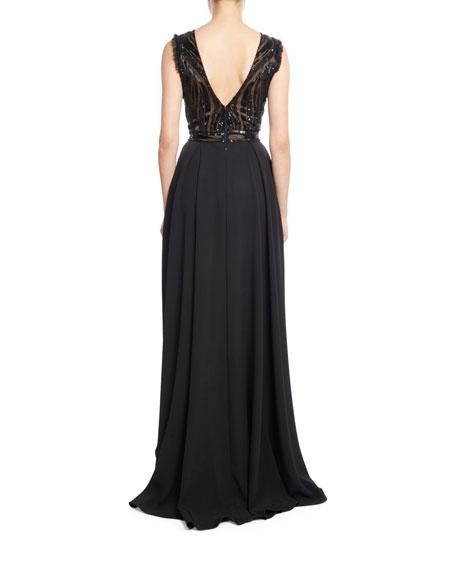 Sleeveless Skirted Jumpsuit with Embellished Bodice, Black