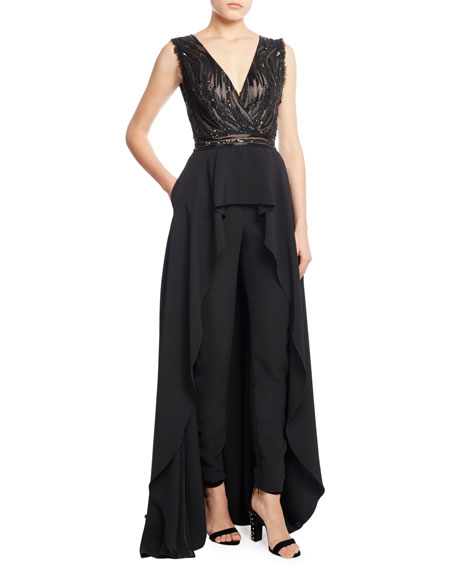 Sleeveless Skirted Jumpsuit with Embellished Bodice, Black