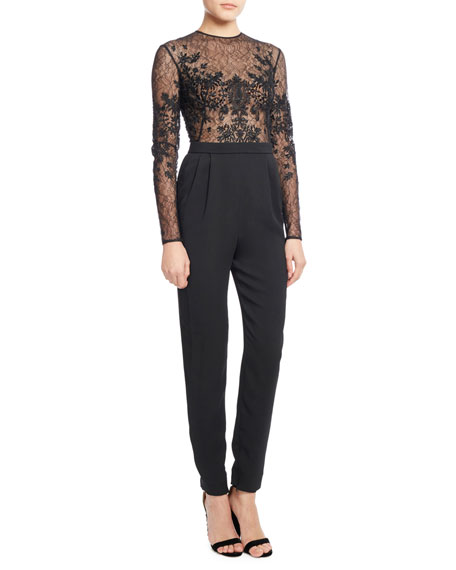 Embroidered Lace & Crepe Long-Sleeve Jumpsuit, Jet