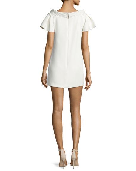 Piped-Neckline Mini Dress, Ivory