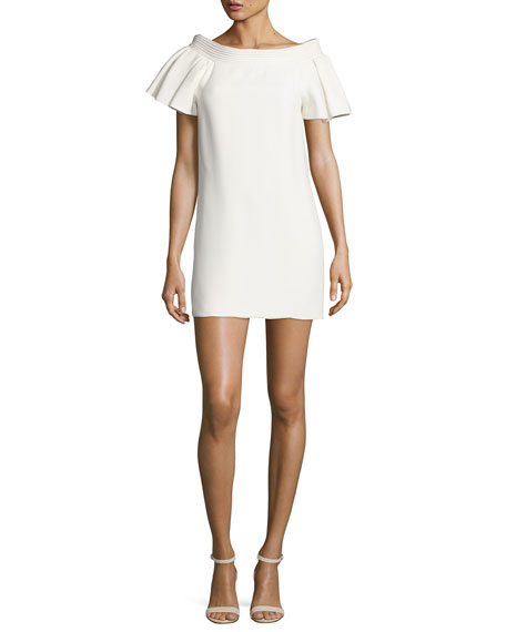 Piped-Neckline Mini Dress, Ivory