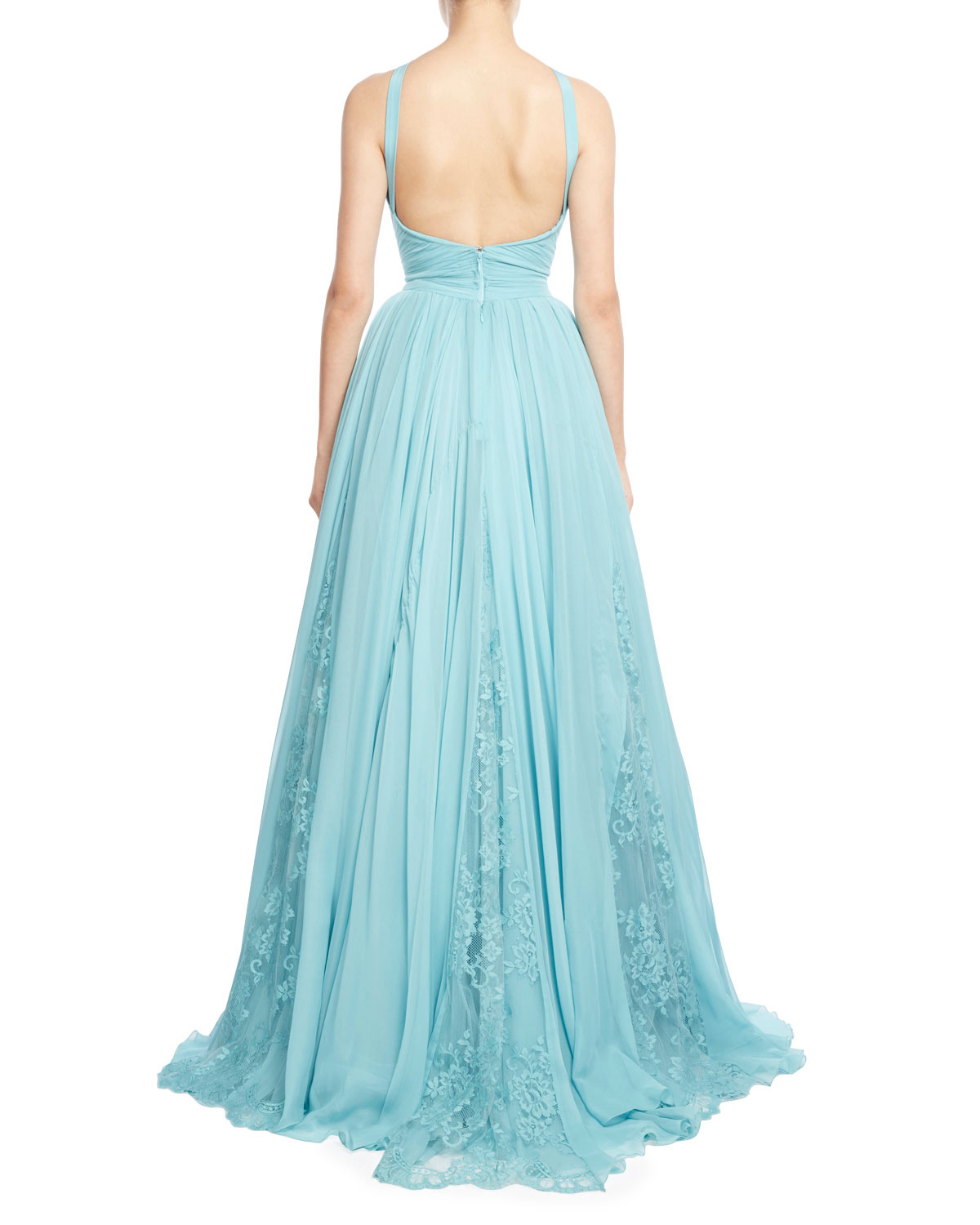 Zuhair Murad Draped Georgette Gown with Lace Insets, Blue   Neiman ...