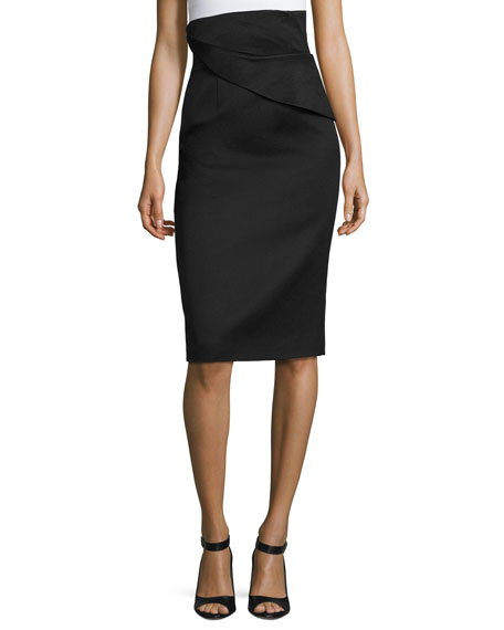 Brandon Maxwell Folded Waist Pencil Skirt, Black