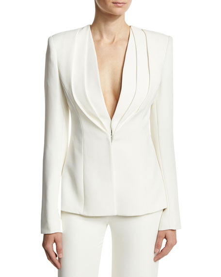Brandon Maxwell Layered Lapel Suiting Jacket, Ivory