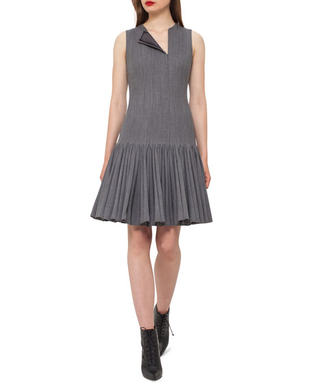 Akris Sleeveless Pleated Drop-Waist Dress