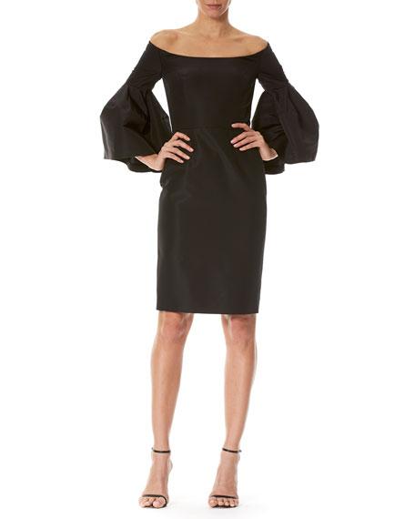 Carolina Herrera Off-the-Shoulder Bell-Sleeve Cocktail Dress, Black