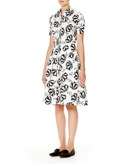 Umbrella-Print Short-Sleeve Shirtdress, Black/White