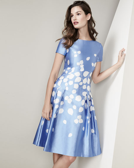 Leaf-Print Short-Sleeve A-Line Dress, Blue/White