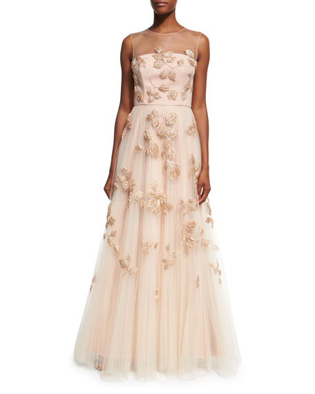 Embellished Tulle Illusion Gown, Blush