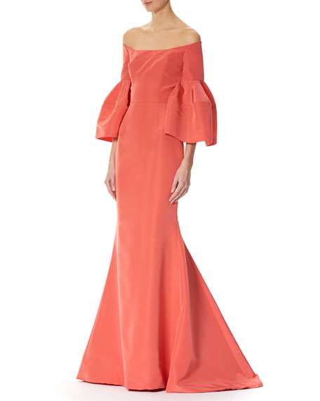 Off-the-Shoulder Bell-Sleeve Mermaid Gown, Pink