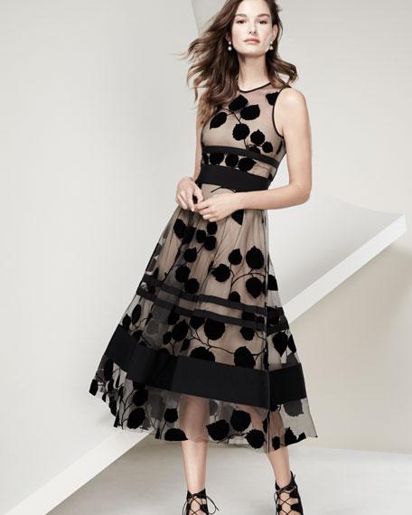 Sleeveless Illusion Vine Midi Dress, Black