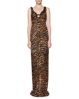 Sleeveless Tiger-Print Gown with Enamel Ring, Brown