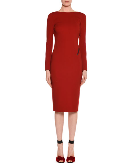 Zip-Trim Scoop-Back Long-Sleeve Dress