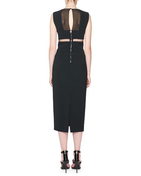 Sleeveless Mesh-Side Midi Sheath Dress, Black