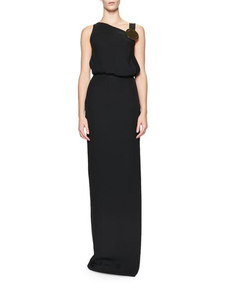 Sleeveless Blouson Side-Slit Gown, Black
