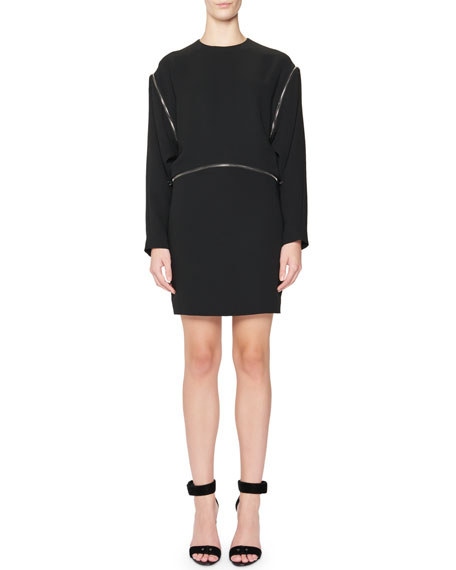 Zipper-Trim Kimono-Sleeve Mini Dress, Black