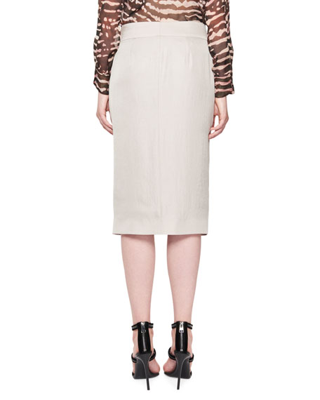 Zip-Front Pencil Skirt, White