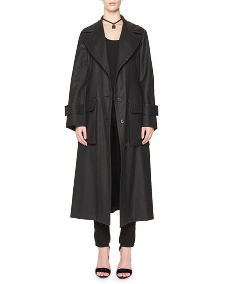 Cargo-Pocket Wrap Trenchcoat, Black