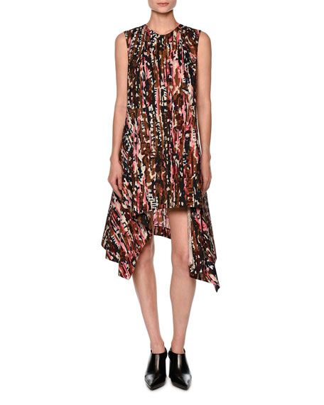 Sleeveless Haze-Print Asymmetric Dress, Pink/Multi