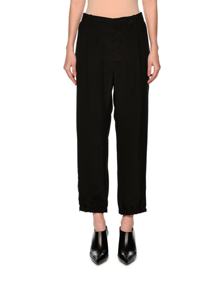 Marni Straight-Leg Ankle-Zip Pants, Black