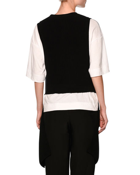 Asymmetric Peplum Vest & Tee, Black