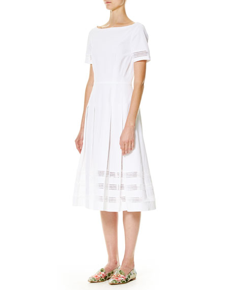 Illusion-Trim Short-Sleeve Midi Dress, White