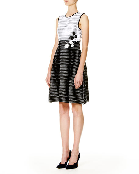 Leaf-Embroidered Sleeveless Fit-&-Flare Dress, White/Black