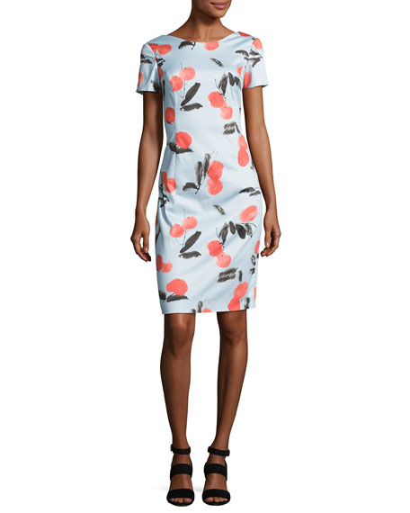 Carolina Herrera Cherry-Print Short-Sleeve Dress, Blue