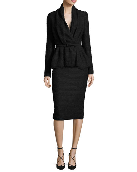 Tweed Pencil Skirt, Black