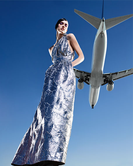 Carolina Herrera Metallic Jacquard One-Shoulder Gown, Blue Metallic