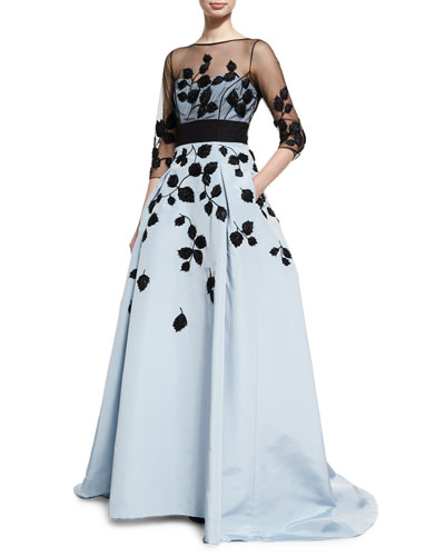 Leaf-Embroidered Silk Faille Illusion Gown, Black/Blue