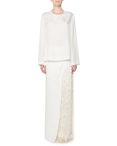Column Skirt with Beaded Fringe Panel, White